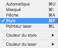 Choisissez le pointeur du stylo dans le menu contextuel.