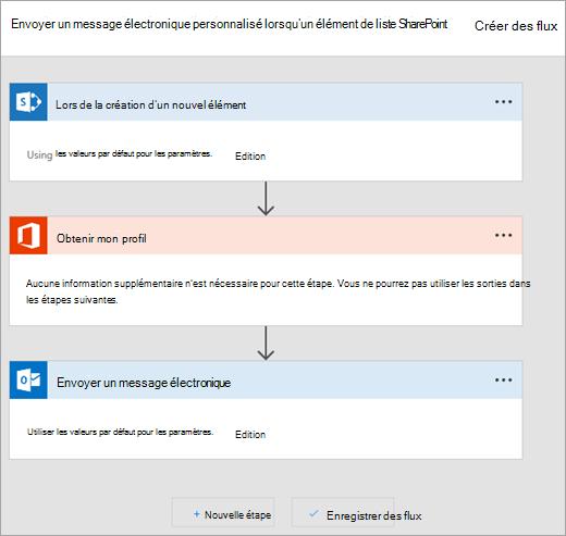 Suivez les instructions sur le site Microsoft Flow pour vous connecter le flux
