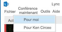 Capture d'écran du démarrage d'une réunion Conférence maintenant en tant que délégué