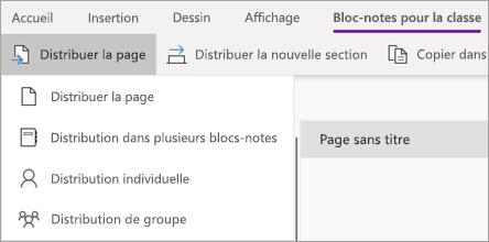 Bouton distribuer la page, puis cliquez sur distribution de plusieurs blocs-notes.