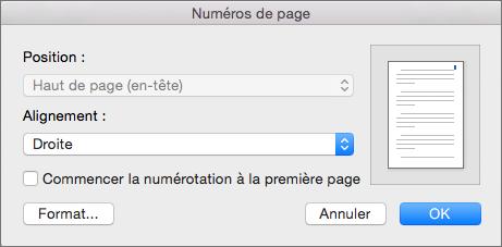 Dans Numéros de page, définissez la position et l'alignement des numéros de page.