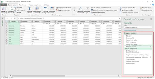 Excel Power BI - Réorganisation des étapes de requête par glisser-déplacer
