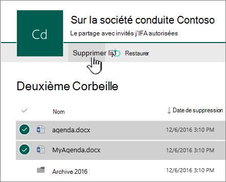 SharePoint Online 2ème niveau Corbeille avec le bouton Supprimer mis en surbrillance