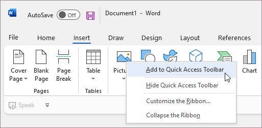Ajouter une commande à la barre d'outils Accès rapide