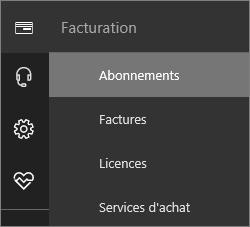 Capture d'écran du menu Facturation dans le nouveau Centre d'administration Office365 avec l'option Abonnement sélectionnée