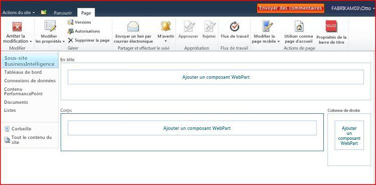 Une page de composants WebPart contient des zones permettant d'ajouter des composants WebPart
