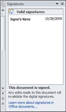 Volet Signatures avec un signataire valide