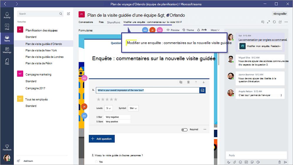 Onglet Formulaires de Microsoft teams affichant un formulaire en mode «modifier»