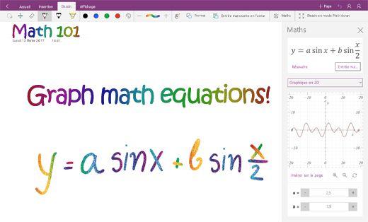 Tracer des équations mathématiques dans OneNote pour Windows10