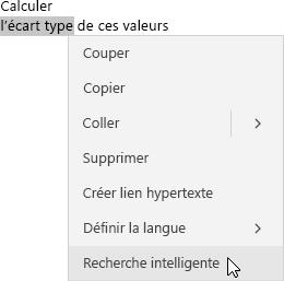 Affiche une phrase avec une expression mise en surbrillance et le menu contextuel avec l'option Recherche intelligente mise en évidence