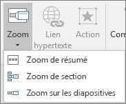 Différents types de zooms proposés dans Insérer > Zoom: Zoom de résumé, Zoom de diapositive et Zoom de section