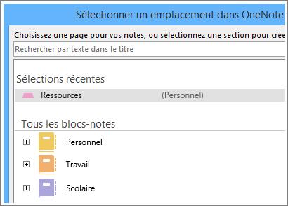 Capture d'écran de la fenêtre OneNote dans laquelle vous pouvez choisir la page dans laquelle prendre des notes Skype