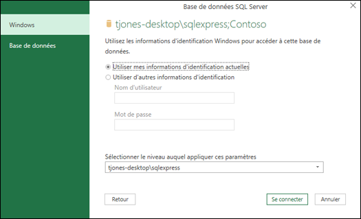 Power Query SQL Server connexion informations d'identification