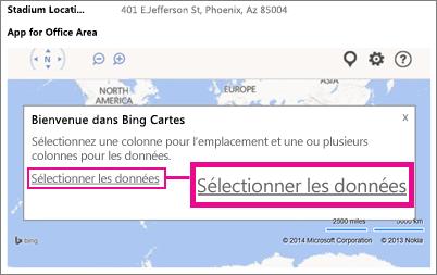 Sélection de données pour une application Bing Maps pour Office dans une application Access