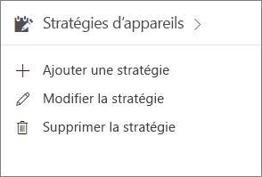 Carte Stratégies d'appareil dans le Centre d'administration.