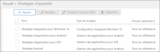 Capture d'écran de la page Stratégies