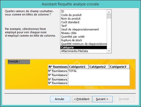 Sélectionnez un champ à afficher comme en-tête de ligne dans l'Assistant Requête analyse croisée.