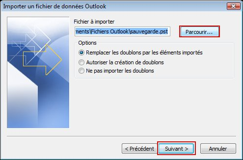 Click Browse to display the Open Outlook Data File dialog box.