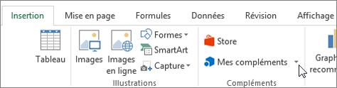 Capture d'écran d'une section de l'onglet Insertion dans le ruban Excel avec un curseur en pointant sur Mes compléments sélectionnez Mes compléments pour accéder aux macros complémentaires pour Excel.