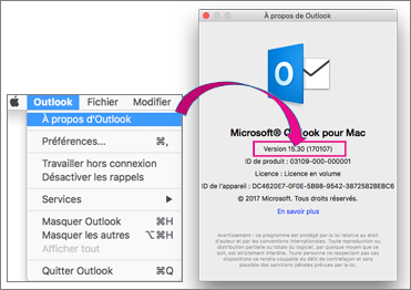 Pour connaître votre version, sélectionnez Outlook, À propos d'Outlook