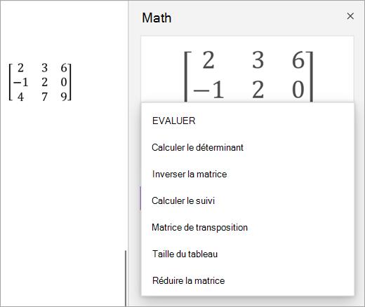 Options de solution pour les matrices