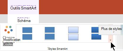 Sous Outils SmartArt, cliquez sur la flèche styles supplémentaires pour ouvrir la Galerie styles SmartArt