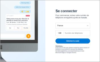 Capture d'écran de la page de connexion à Kaizala Web