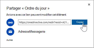 Capture d'écran de l'option Obtenir un lien dans la boîte de dialogue Partager dans OneDrive