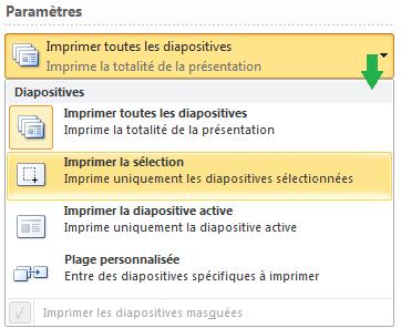 Options pour choisir les diapositives à imprimer