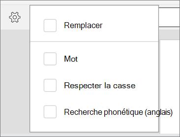 Affiche les options remplacer, mot, respecter la casse et recherche phonétique pour rechercher dans Word pour Android.