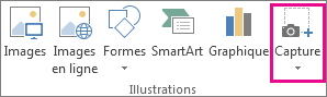 Bouton Capture d'écran du groupe Illustrations dans Word