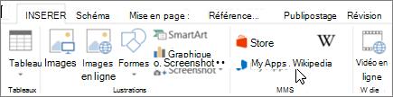 Capture d'écran de l'onglet Insertion dans le ruban de Word avec un curseur en pointant sur le magasin. Sélectionnez Store pour accéder à Office Store et rechercher des compléments pour Word.