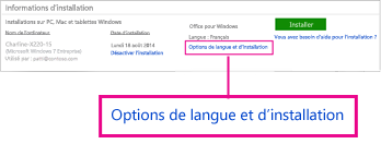Options de langue et d'installation