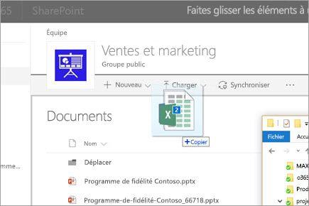 Faites glisser un fichier dans une bibliothèque de documents SharePoint