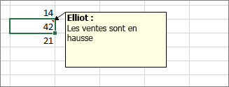 Exemple de commentaire dans une feuille de calcul