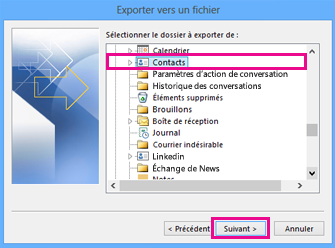 Assistant Exportation Outlook - Choisir les contacts