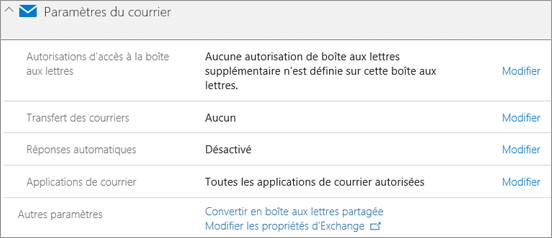 Capture d'écran : Paramètres de messagerie Office 365