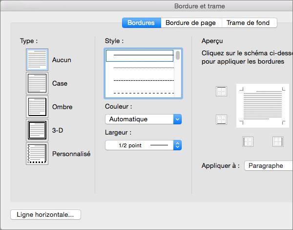 Personnalisez les bordures dans la boîte de dialogue Bordures et trame.