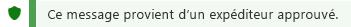 Capture d'écran de la notification d'expéditeurs approuvés.