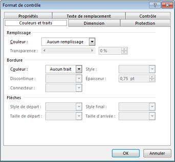 options de la boîte de dialogue Format de contrôle