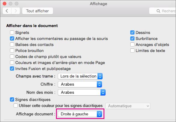 Options d'affichage du document dans la boîte de dialogue Affichage