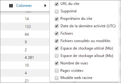 Options de colonne du rapport d'utilisation de SharePoint