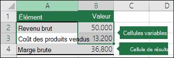 Scénario: configuration d'un scénario avec des cellules variables et des cellules de résultat