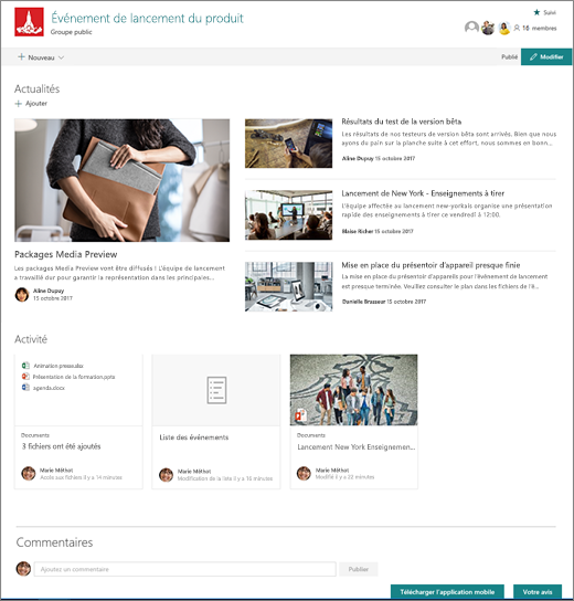 Page d'accueil du site SharePoint teams