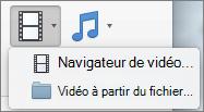 Capture d'écran montre le navigateur vidéo et la vidéo à partir des options de fichier disponibles à partir du contrôle de liste déroulante vidéo. Sélectionnez une option pour insérer une vidéo dans votre présentation PowerPoint.