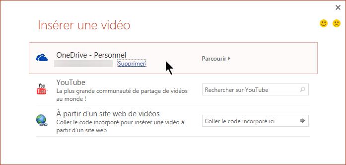 La boîte de dialogue Insérer une vidéo inclut des options de YouTube, Facebook et OneDrive.