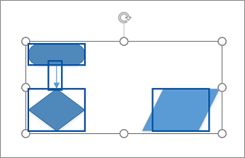 Sélection de plusieurs formes en les faisant glisser