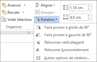 Options du menu Rotation