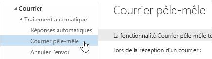 Capture d'écran du curseur au-dessus de Courrier pêle-mêle dans le menu Paramètres.