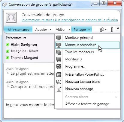 Fenêtre Microsoft Lync avec options de partage d'écran